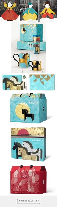 Graphic design, illustration and packaging for Starbucks New Year on Behance by Eulie Lee Seoul, Korea curated by Packaging Diva PD. Merchandise & packaging design for the Starbucks Korea's new year promotions.