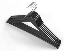 Universal wooden hangers w/notched shoulders and non-slip transparent cover on bar. Size: 44,5 cm.