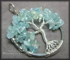 March Tree - Tree of Life Pendant in Blue Aquamarine and Sterling Silver Wire $45