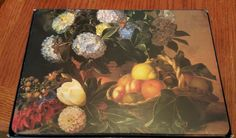 (4) Home Essential Cork Back Placemats With Fruit and Flowers 16 x 11.25 inches #Blue