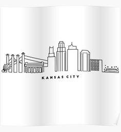 Shop unique Kansas City Posters on Redbubble. Kansas City Skyline, City Skyline Art, Skyline Tattoo, Simple Tattoo Designs, Skyline Painting, City Tattoo, Landscape Tattoo, Kansas City Missouri, Snapchat Stickers