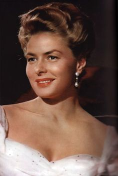 Ingrid Bergman was a Swedish born American actress who starred in a variety of European and American films. She won three Academy Awards, two Emmy Awards, and the Tony Award for Best Actress. (Notorious,  Casablanca, Gaslight)  1915-82