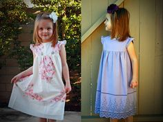 Super cute little girl nightgowns or dresses made from pillowcases!