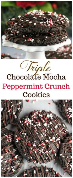 Triple Chocolate Mocha Peppermint Crunch Cookies - Rich, soft and chewy, Triple Crunch Cookies for the Christmas Holidays! And there IS a hint of to give it a delectable, rich chocolate mocha flavor! Spice Cookies, Holiday Cookies, Holiday Treats, Christmas Treats, Holiday Recipes, Christmas Holidays, Coffee Cookies, Winter Treats, Crinkle Cookies