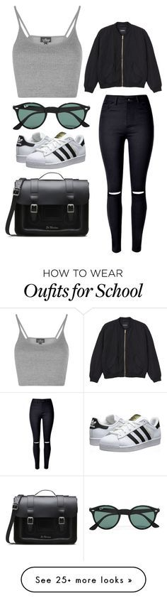 """School"" by april-baby123 on Polyvore featuring Topshop, WithChic, Monki, Dr. Martens, adidas Originals and Ray-Ban"