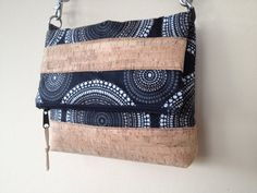 Black Fold Over Bag Cork Crossbody Purse Fold by NormasBagBoutique