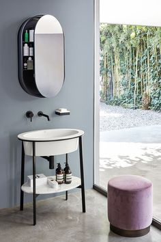 Oval wall-mounted mirror with cabinet I CATINI OVAL BOX I Catini Collection by Ceramica Cielo design Andrea Parisio, Giuseppe Pezzano