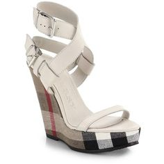 Burberry Goldfinch Check-Wedge Sandals