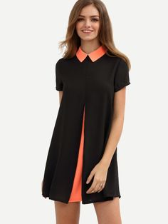 Colorblock Roll-up Collar Short Sleeve Shift Dress