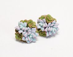 Mint green Succulent Earrings. Clay succulent Stud earrings. Polymer clay jewelry. Cactus Plant Earrings Post. Wedding Succulent Jewelry by JewelleryForWorld on Etsy https://www.etsy.com/listing/453966344/mint-green-succulent-earrings-clay