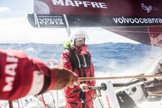 March 23, 2015. Leg 5 to Itajai onboard MAPFRE. Day 5. Andre Fonseca on the main ñeti on the grinders -