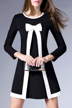 Graceful Round Collar 3/4 Sleeve Bowknot Embellished A-Line Dress For Women