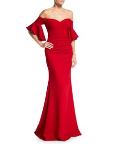 57f9ff2d925 Off-the-Shoulder+Ruched+Crepe+Evening+Gown+by+. Neiman Marcus