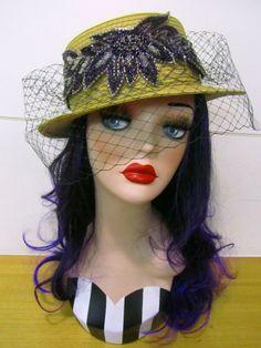 Embellished Veil Boater Hat Free Shipping worldwide www.teoel.com