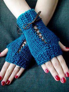 Fingerless Gloves Corset Wrist Warmers Handknit in by LaimaShop