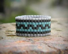 Ring made of Miyuki delica seed beads. Width - 10 mm Size - 9 (US) More peyote rings (seed bead rings) from my shop you can see here: