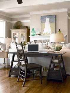 Universal Furniture - Paula Deen - Down Home - Saw Horse Desk in Molasses available at Furnitureland South.