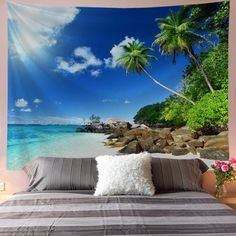 Discover the best beach themed tapestries and coastal wall tapestries. We love beach wall decor and tapestries are affordable and beautiful, which makes them a great option. Tapestry Nature, Tree Tapestry, Tapestry Wall Hanging, Blanket On Wall, Beach Wall Decor, Beach Landscape, Ocean Beach, Beach Themes, Palm Trees