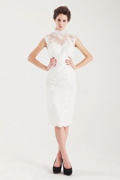 Shop beautiful 2013 Wedding Dresses Sheath Column High Neck Knee Length Lace online affordable for big discount