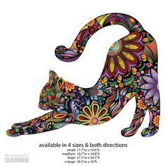 Stretching Cat Wall Sticker Repositionable di MyWallStickers