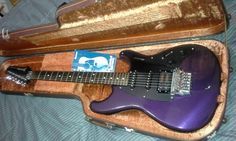 Vintage Ibanez Roadstar II RS 440 deluxe guitar. 1984 Made in Japan (used) in very good condition. Very few paint chips they are on the back of the guitar which you can see in the pictures. The guitar is 31 years old. One owner. The color is Royal Violet. It plays and sound great. Comes with original hard shell case in very good condition. Features the top-lok locking nut and Pro- Rock R fine tuning tremelo system, and new tech grip control knobs. The humbucker pickup ring has a br...
