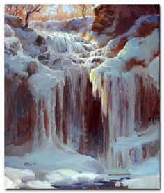 "Back in the dark ages, my first gallery, in Osceola WI, was one block and a huge staircase from this beautiful falls. Several times I climbed over the roped steps in heavy winter gear with my French easel strapped to my back to learn about its magic. I painted it in all seasons, but waterfalls in winter are a particular joy!  (""Cascade Falls in Winter"" (plein air)  24x20"" oil on linen  ©Mary Pettis *AVAILABLE*)"