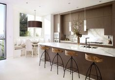 Interior, Kind Kitchen Interior Design With Metal Bar Stools With Wood Seat Brown Kitchen Island With White Marble Top Pendant Lamp Kits White Marble Backsplash Brown Kitchen Cabinet Round Brown Pendant Lamp L Shaped Kitchen Nook: Perfect and Ideal Kitchen Interior Design Ideas
