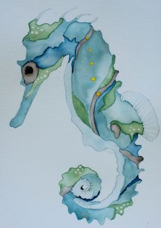 Art Ed Central loves this Nautical watercolor art blue seahorsecrab 8x10 signed PRINT blue and sea green print by ssbaud on Etsy