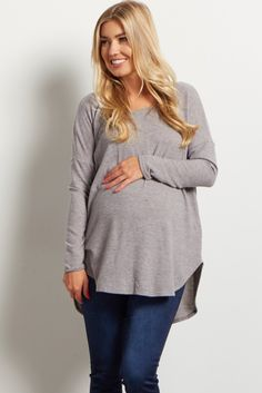 When we say soft knit, we really mean soft knit. This incredibly comfortable and flattering maternity top has secured its spot as one of this season's must-haves. Once you put it on, you won't want to take it off!