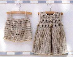 Delicadezas en crochet Gabriela: Niños : pantalón corto y vestido para ver dar clic...