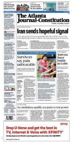 Iran sends hopeful signal; Flesh-eating bacteria survivors; Anti-tax furor; Tea Party tests power. The Atlanta Journal-Constitution front page for May 23, 2012