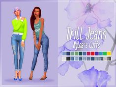 Nolan Sims here. I fell in love with the shape of these leggings by @nyloa, and HAD to get my Trill Jean texture on them! With her permission (many thanks!), I have slightly edited the UV map around the cuff to suit my texture. These jeans include...