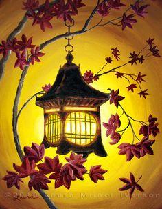 Lantern in Golden Glow Original Acrylic Painting
