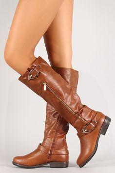 Steeple Buckle Knee High Riding Boot