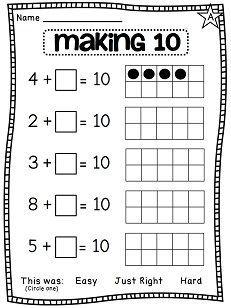 Making 10 differentiated worksheets! really like the easy, just right, hard on the bottom Mehr zur Mathematik und Lernen allgemein unter zentral-lernen. Math Classroom, Kindergarten Math, Teaching Math, Preschool, Math Stations, Math Centers, Math Resources, Math Activities, Therapy Activities