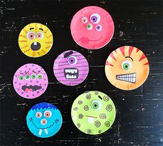 Canning Lid Monsters Make adorable monsters using recycled canning lids and colorful paper! These would make fun wearable pins or magnets too. The post Canning Lid Monsters was featured on Fun Family Crafts. Jar Lid Crafts, Mason Jar Crafts, Canning Jar Lids, Mason Jar Lids, Recycle Cans, Ways To Recycle, Fun Crafts, Crafts For Kids, Arts And Crafts