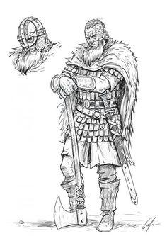 How to draw a viking step by step. in art, tutorials Viking Warrior, Viking Woman, Viking Drawings, Viking Character, Warrior Drawing, Norse Vikings, Viking Tattoos, Art Drawings Sketches, Character Drawing