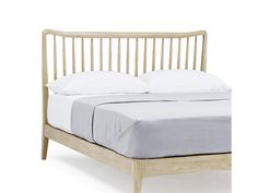 This solid oak bed is inspired by a jobbie our Charlie brought back from Barcelona. Made the old-fashioned way, hand-carving every curve and spindle. Solid Oak Beds, Mid Century Bed, Old Things, New Homes, Headboards, Bedroom, Bedding, House, Decor Ideas
