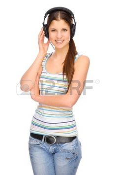 Full isolated portrait of a beautiful caucasian woman listen to the music