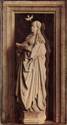 Jan van Eyck - Parte del díptico de la Anunciación, detalle de la Virgen (1435-1441). Gótico. Óleo sobre tabla de 39 x 24 cm. Museo Thyssen-Bornemisza (Madrid), España