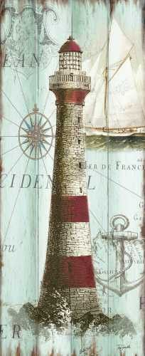 Antique La Mer Lighthouse Panel I