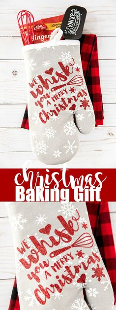 "Baking Oven Mitt Gift Holiday Baking Oven Mitt Gift – ""We Whisk You A Merry Christmas"" handmade Christmas oven mitt gift.Holiday Baking Oven Mitt Gift – ""We Whisk You A Merry Christmas"" handmade Christmas oven mitt gift. Merry Christmas Images, Diy Christmas Gifts, Christmas Projects, Holiday Crafts, Christmas Vinyl Crafts, Cricut Christmas Ideas, Handmade Christmas Presents, Personalized Christmas Gifts, Christmas Music"