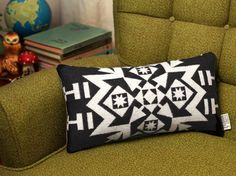 Geometric Wool Pillow // Black and White / Grey by ScoutandWhistle