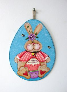 Easter Bunny with Colorful Easter Egg, Tole or Hand Painted on Egg Shape Wood Cut Out, Spring Art, Easter Egg, Purple Flower, Bumble Bees