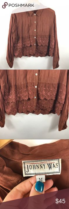 """Johnny Was button front blouse floral embroidered Johnny Was size medium button front blouse floral embroidered brown gently used condition. smoke free home  armpit to armpit 22"""" length 23"""" Johnny Was Tops Button Down Shirts"""