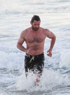 Muscular Hugh Jackman shirtless in Bondi, Sydney. 7-15-2012