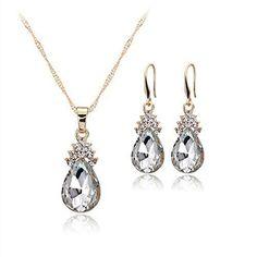 Oferta: 0.25€. Comprar Ofertas de Hosaire Collar Pendientes Diamante Gotitas de agua Elegante Joyería Mujer Juego de Colgante Cristal Colgante + Pendientes (Pl barato. ¡Mira las ofertas!