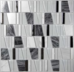 """1.78"""" Glass and Stone Mosaic Tile in Slate"""