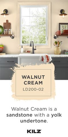 WALNUT CREAM is one of over 800 colors from KILZ®. Kitchen Paint Colors, Room Paint Colors, Paint Colors For Home, House Colors, Yellow Kitchen Walls, Yellow Paint Colors, Reno, Painting Cabinets, Modern Farmhouse