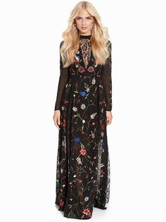 Embellished Lace Maxi Dress